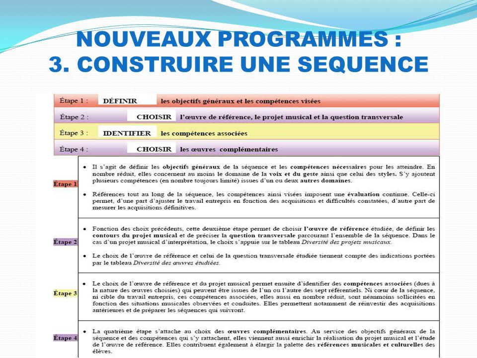 NOUVEAUX PROGRAMMES : 3. CONSTRUIRE UNE SEQUENCE