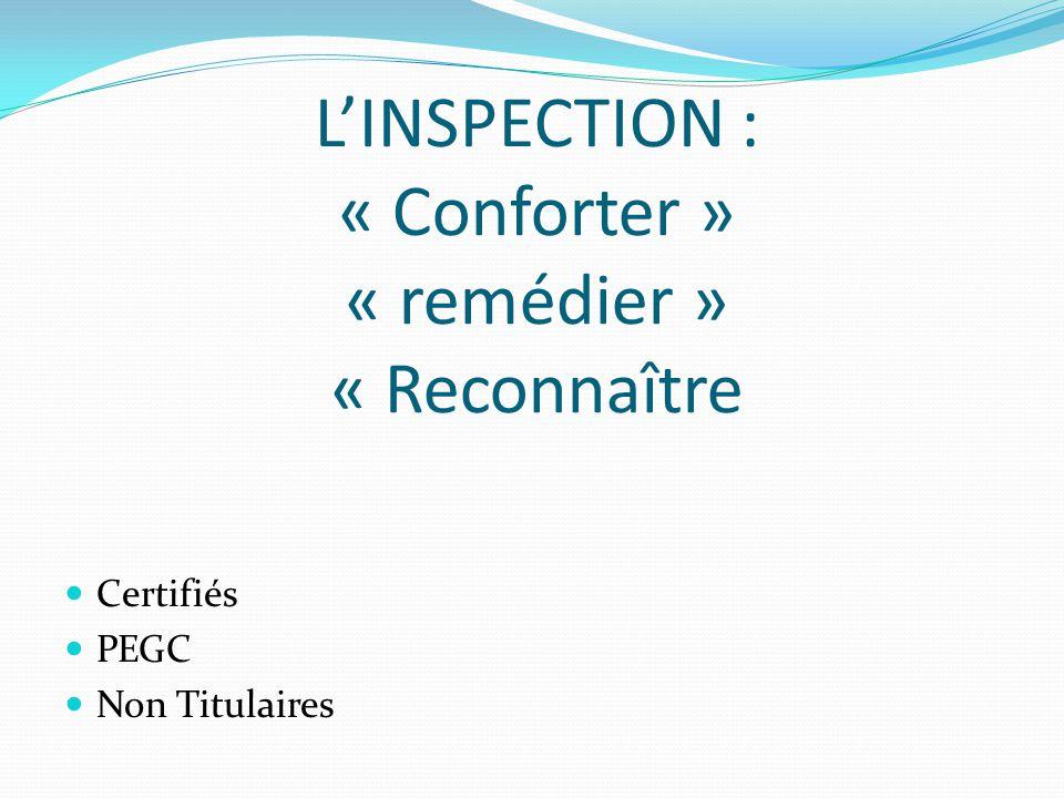 LINSPECTION : « Conforter » « remédier » « Reconnaître Certifiés PEGC Non Titulaires