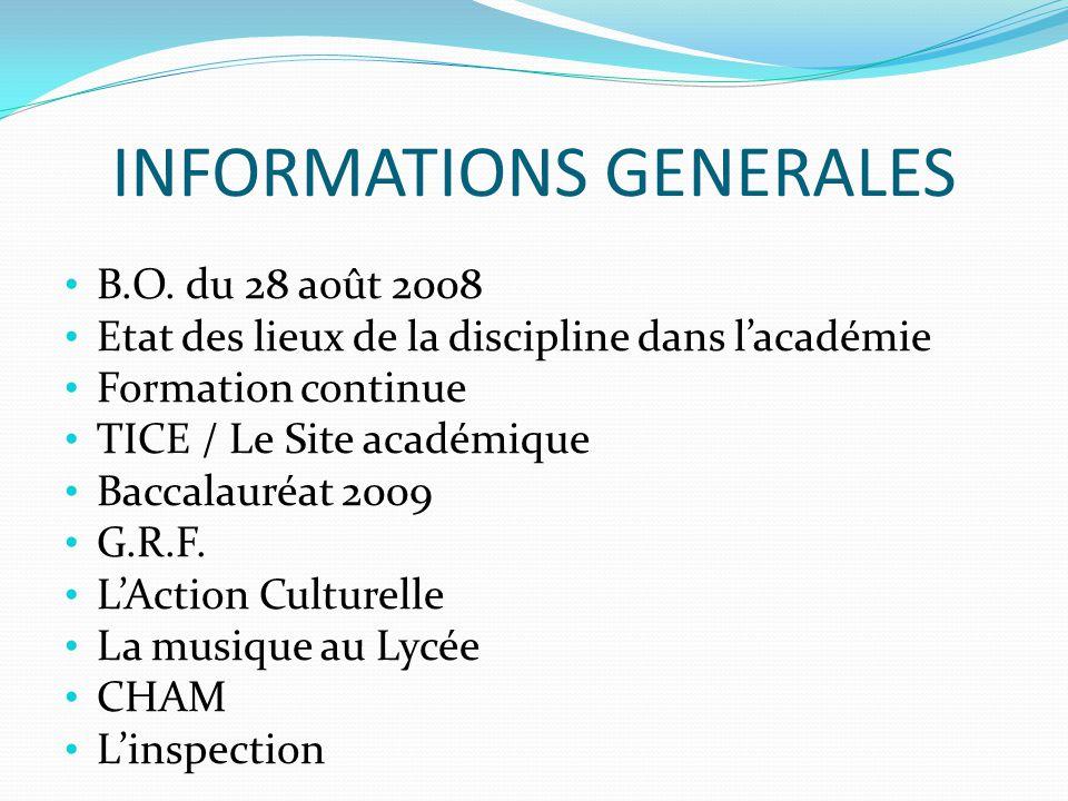 INFORMATIONS GENERALES B.O. du 28 août 2008 Etat des lieux de la discipline dans lacadémie Formation continue TICE / Le Site académique Baccalauréat 2