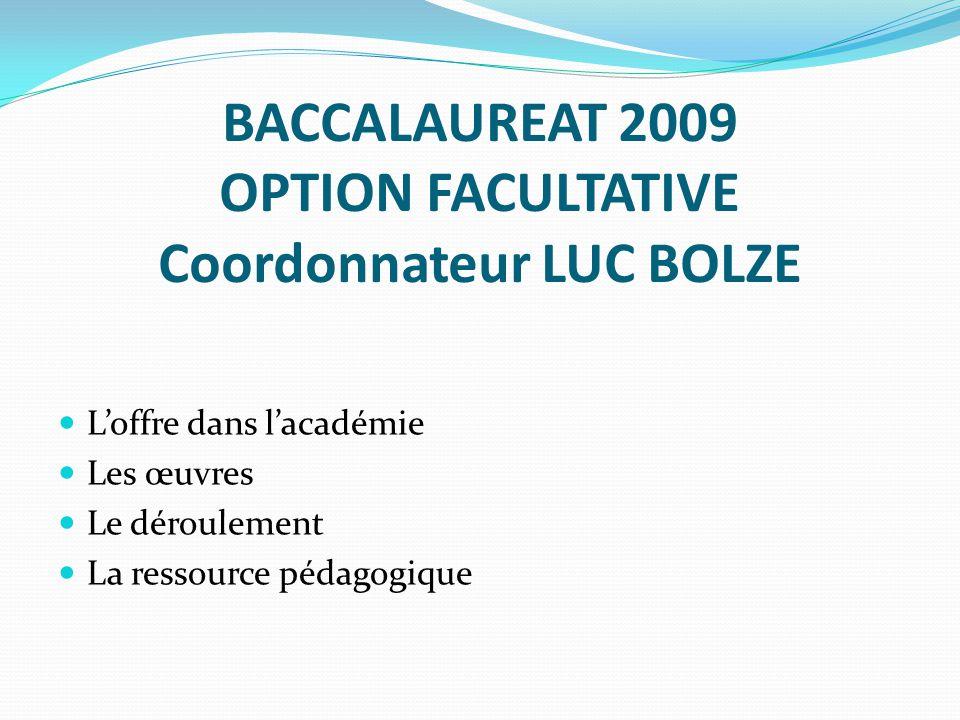 BACCALAUREAT 2009 OPTION FACULTATIVE Coordonnateur LUC BOLZE Loffre dans lacadémie Les œuvres Le déroulement La ressource pédagogique