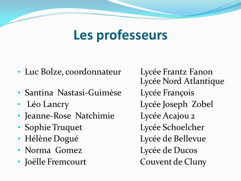 Les professeurs Luc Bolze, coordonnateur Lycée Frantz Fanon Lycée Nord Atlantique Santina Nastasi-Guimèse Lycée François Léo Lancry Lycée Joseph Zobel