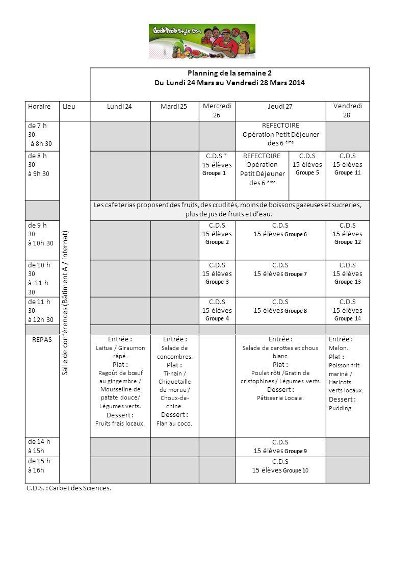 C.D.S. : Carbet des Sciences. Planning de la semaine 2 Du Lundi 24 Mars au Vendredi 28 Mars 2014 HoraireLieuLundi 24Mardi 25 Mercredi 26 Jeudi 27 Vend
