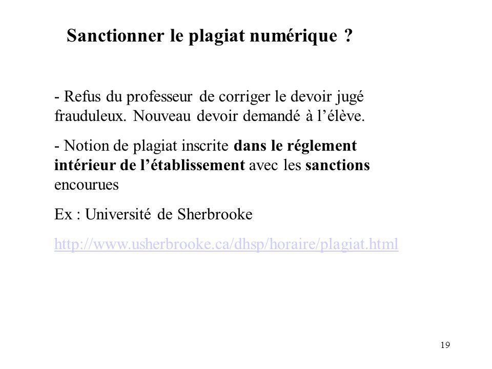19 Sanctionner le plagiat numérique .- Refus du professeur de corriger le devoir jugé frauduleux.