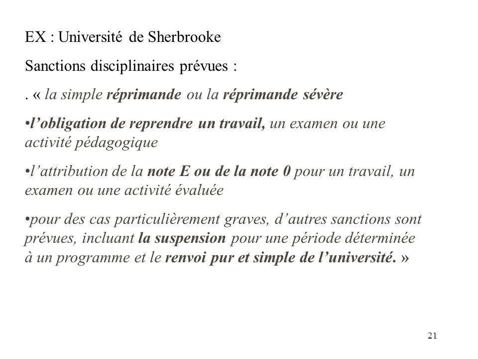 21 EX : Université de Sherbrooke Sanctions disciplinaires prévues :. « la simple réprimande ou la réprimande sévère lobligation de reprendre un travai
