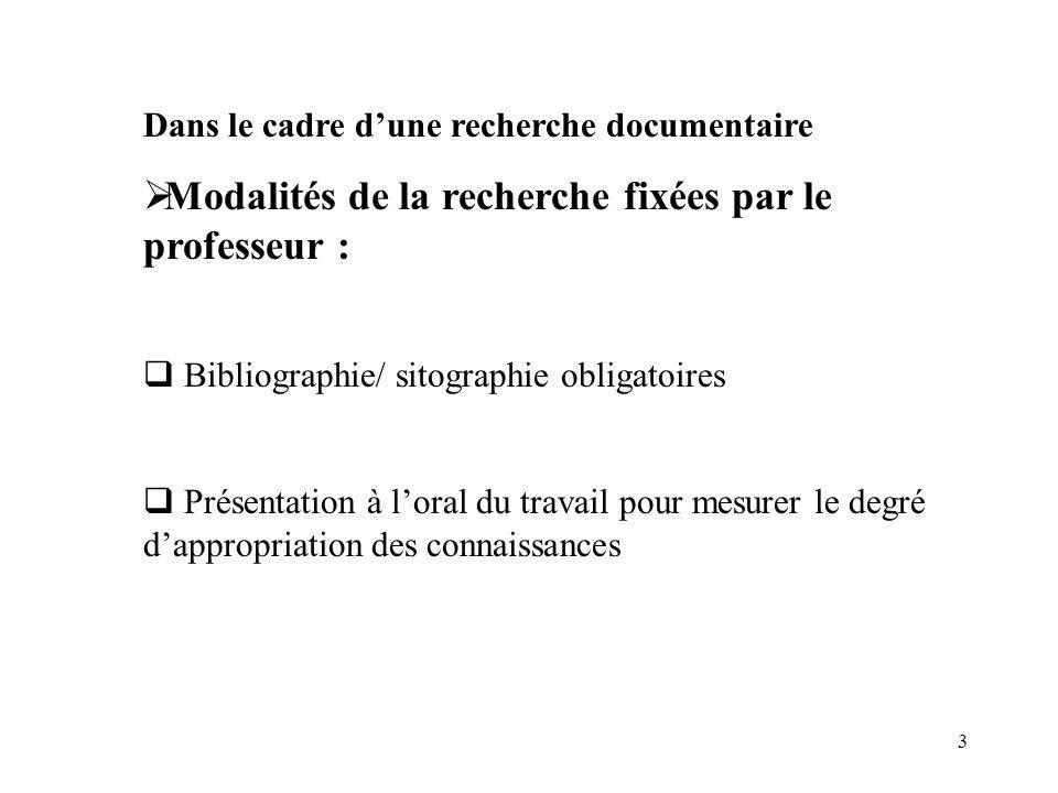 3 Dans le cadre dune recherche documentaire Modalités de la recherche fixées par le professeur : Bibliographie/ sitographie obligatoires Présentation à loral du travail pour mesurer le degré dappropriation des connaissances
