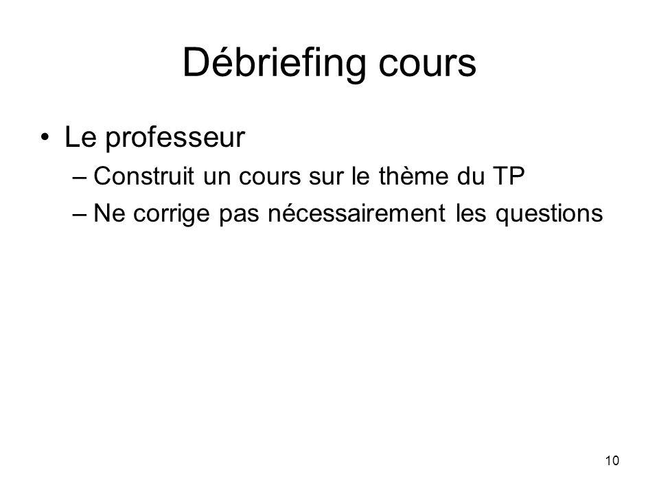 10 Débriefing cours Le professeur –Construit un cours sur le thème du TP –Ne corrige pas nécessairement les questions
