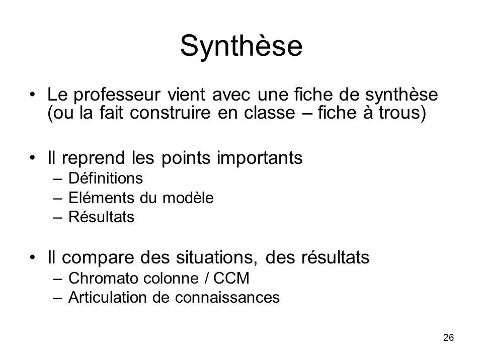 26 Synthèse Le professeur vient avec une fiche de synthèse (ou la fait construire en classe – fiche à trous) Il reprend les points importants –Définit
