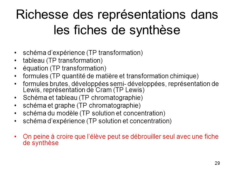 29 Richesse des représentations dans les fiches de synthèse schéma dexpérience (TP transformation) tableau (TP transformation) équation (TP transforma