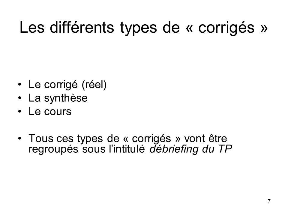 7 Les différents types de « corrigés » Le corrigé (réel) La synthèse Le cours Tous ces types de « corrigés » vont être regroupés sous lintitulé débrie