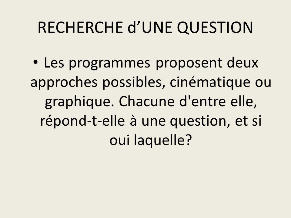 RECHERCHE dUNE QUESTION Les programmes proposent deux approches possibles, cinématique ou graphique.