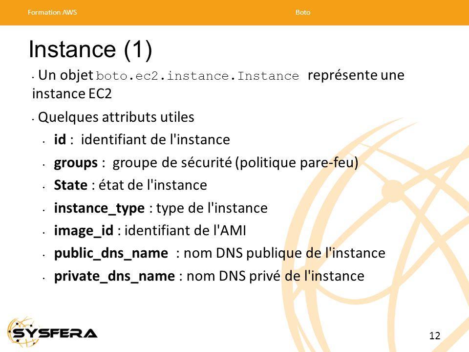 Instance (1) Un objet boto.ec2.instance.Instance représente une instance EC2 Quelques attributs utiles id : identifiant de l instance groups : groupe de sécurité (politique pare-feu) State : état de l instance instance_type : type de l instance image_id : identifiant de l AMI public_dns_name : nom DNS publique de l instance private_dns_name : nom DNS privé de l instance Formation AWSBoto 12