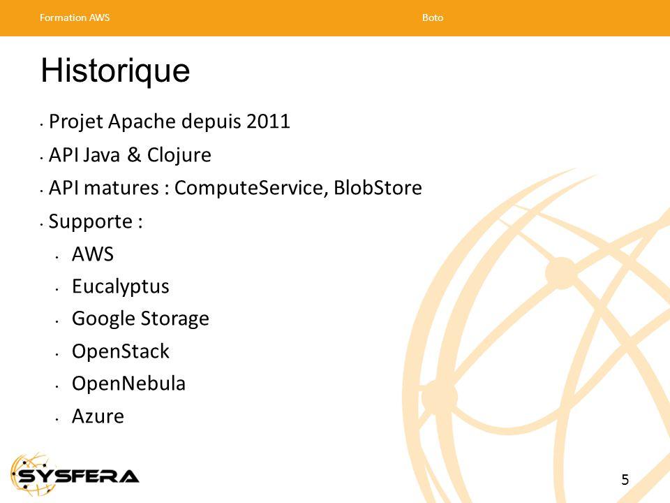Historique Projet Apache depuis 2011 API Java & Clojure API matures : ComputeService, BlobStore Supporte : AWS Eucalyptus Google Storage OpenStack OpenNebula Azure Formation AWSBoto 5
