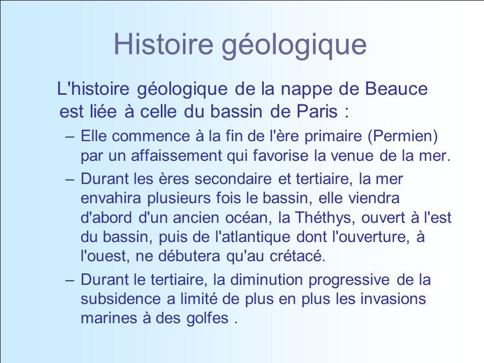 Histoire géologique L histoire géologique de la nappe de Beauce est liée à celle du bassin de Paris : –Elle commence à la fin de l ère primaire (Permien) par un affaissement qui favorise la venue de la mer.