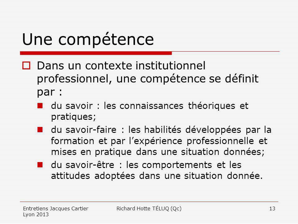 Une compétence Dans un contexte institutionnel professionnel, une compétence se définit par : du savoir : les connaissances théoriques et pratiques; d
