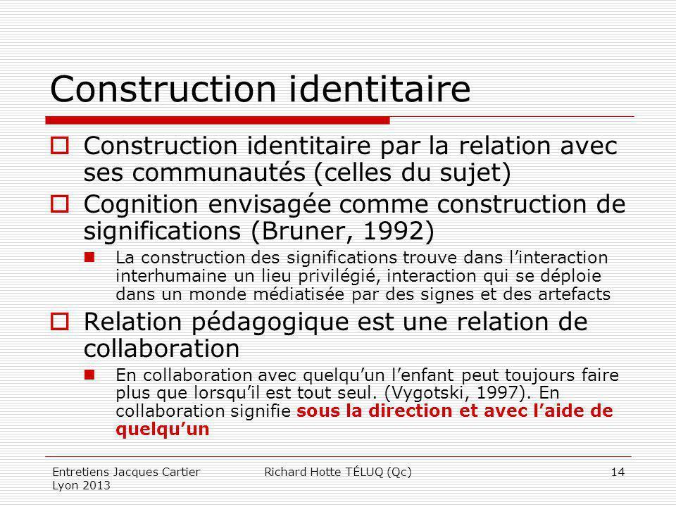 Construction identitaire Construction identitaire par la relation avec ses communautés (celles du sujet) Cognition envisagée comme construction de sig