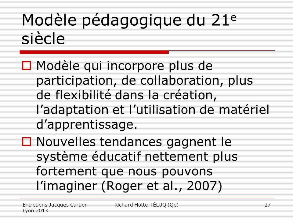 Modèle pédagogique du 21 e siècle Modèle qui incorpore plus de participation, de collaboration, plus de flexibilité dans la création, ladaptation et l