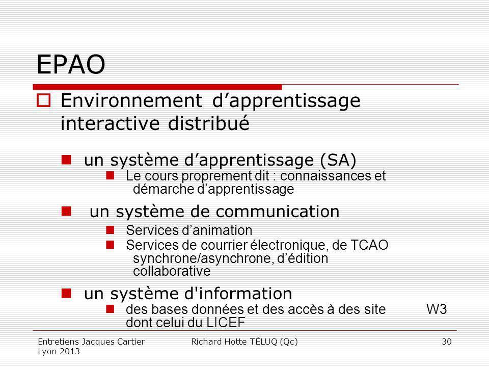 EPAO Environnement dapprentissage interactive distribué un système dapprentissage (SA) Le cours proprement dit : connaissances et démarche dapprentiss