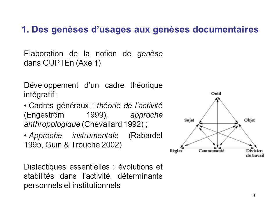 3 1. Des genèses dusages aux genèses documentaires Elaboration de la notion de genèse dans GUPTEn (Axe 1) Développement dun cadre théorique intégratif