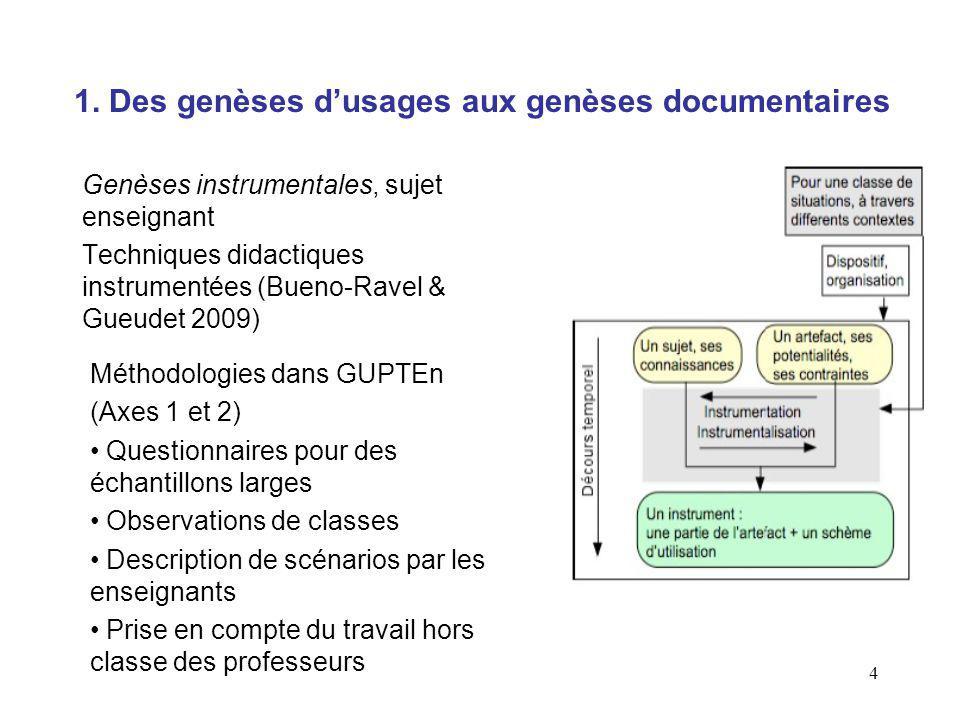 4 1. Des genèses dusages aux genèses documentaires Genèses instrumentales, sujet enseignant Techniques didactiques instrumentées (Bueno-Ravel & Gueude