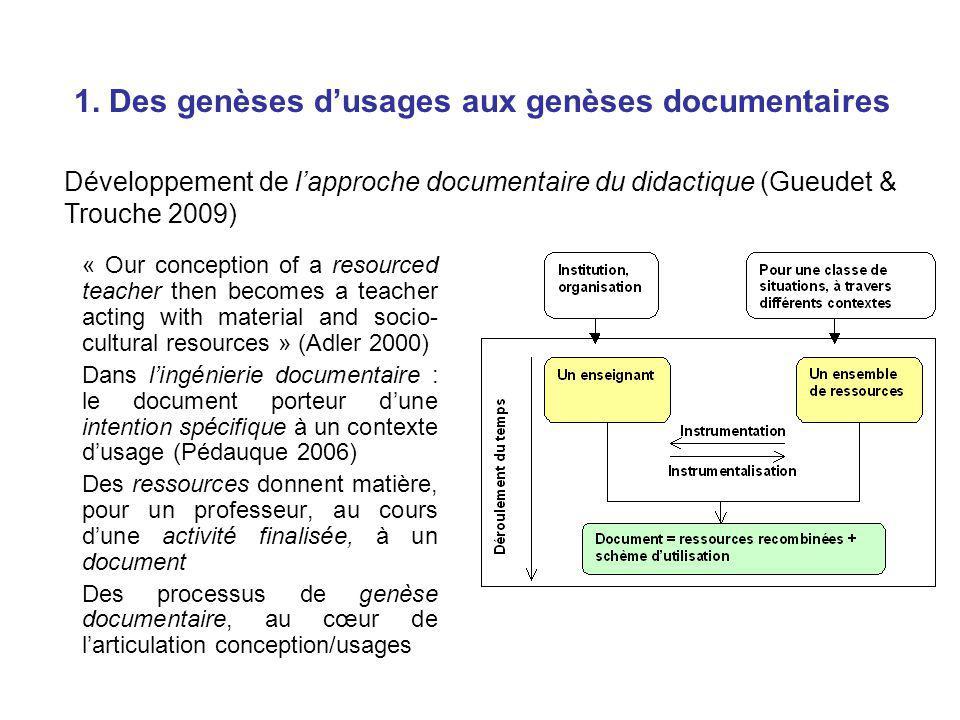 1. Des genèses dusages aux genèses documentaires « Our conception of a resourced teacher then becomes a teacher acting with material and socio- cultur