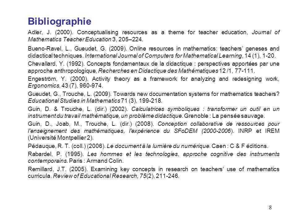 8 Bibliographie Adler, J. (2000). Conceptualising resources as a theme for teacher education, Journal of Mathematics Teacher Education 3, 205–224. Bue