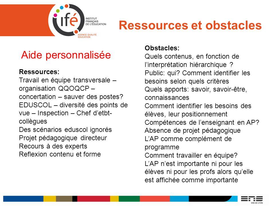 Ressources et obstacles Aide personnalisée Ressources: Travail en équipe transversale – organisation QQOQCP – concertation – sauver des postes? EDUSCO