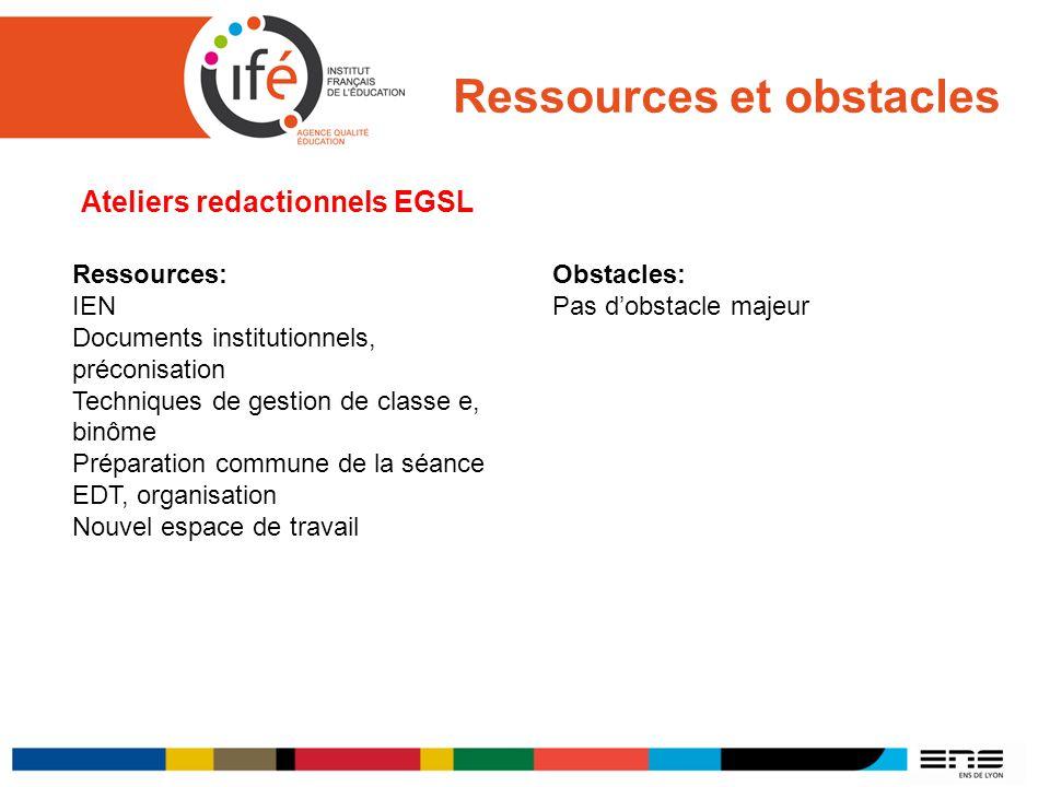 Ressources et obstacles Ateliers redactionnels EGSL Ressources: IEN Documents institutionnels, préconisation Techniques de gestion de classe e, binôme