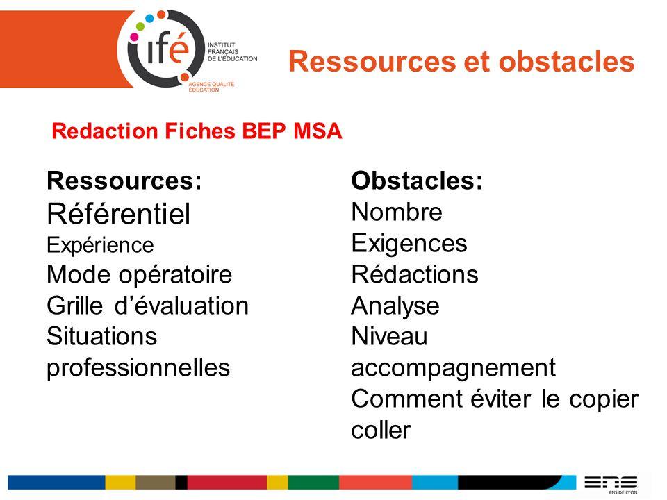 Ressources et obstacles Redaction Fiches BEP MSA Ressources: Référentiel Expérience Mode opératoire Grille dévaluation Situations professionnelles Obs
