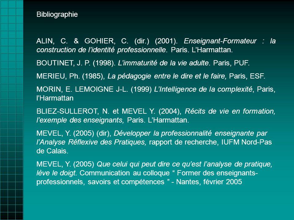 Bibliographie ALIN, C. & GOHIER, C. (dir.) (2001). Enseignant-Formateur : la construction de lidentité professionnelle. Paris. LHarmattan. BOUTINET, J