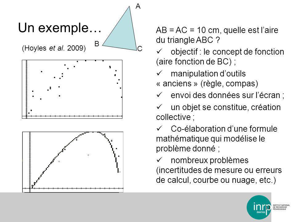 Un exemple… 11 AB = AC = 10 cm, quelle est laire du triangle ABC .