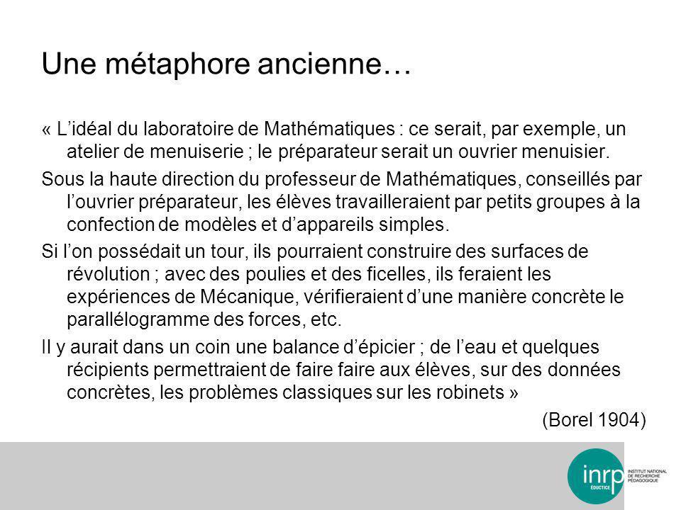 Une métaphore ancienne… « Lidéal du laboratoire de Mathématiques : ce serait, par exemple, un atelier de menuiserie ; le préparateur serait un ouvrier menuisier.