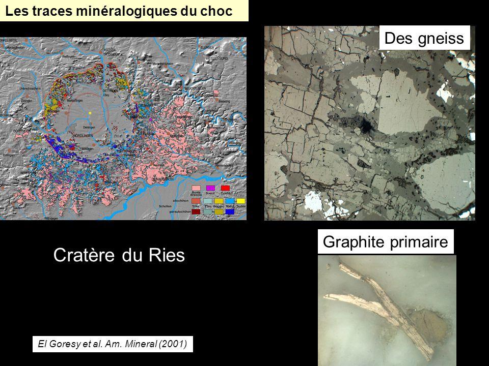 Les traces minéralogiques du choc Cratère du Ries Graphite primaire Des gneiss El Goresy et al. Am. Mineral (2001)