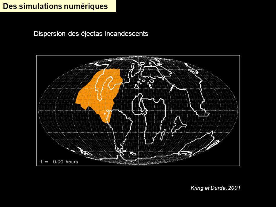Des simulations numériques Kring et Durda, 2001 Dispersion des éjectas incandescents