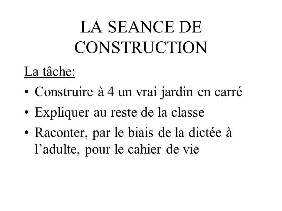 LA SEANCE DE CONSTRUCTION La tâche: Construire à 4 un vrai jardin en carré Expliquer au reste de la classe Raconter, par le biais de la dictée à ladul