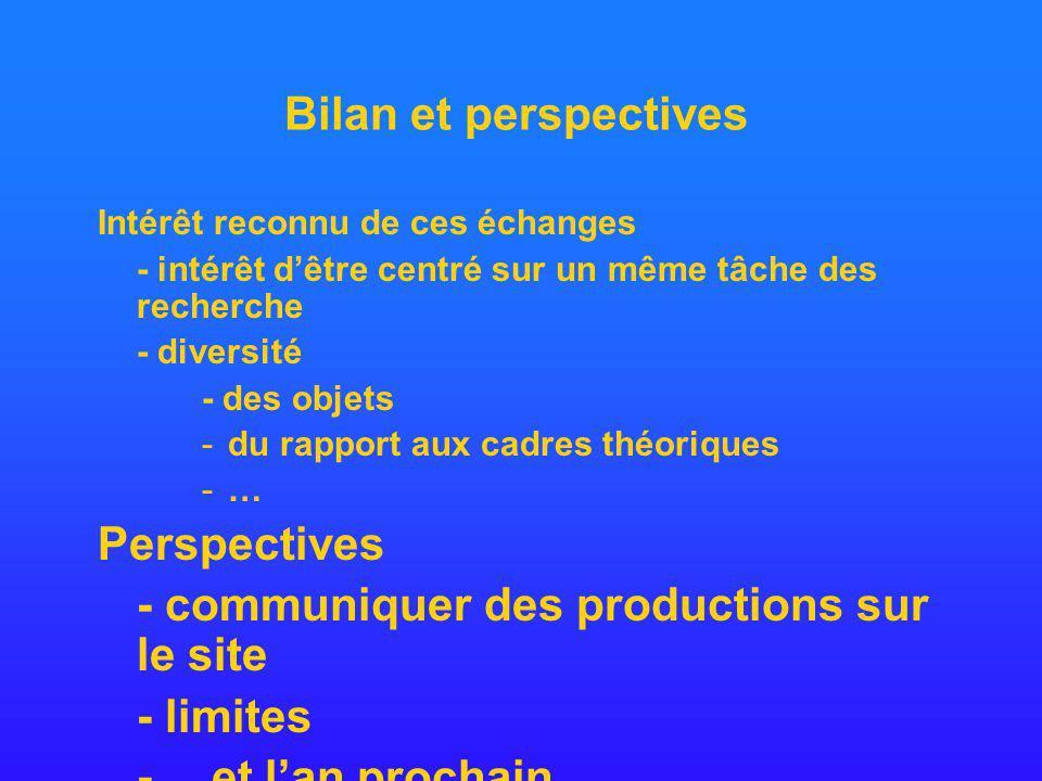 Bilan et perspectives Intérêt reconnu de ces échanges - intérêt dêtre centré sur un même tâche des recherche - diversité - des objets -du rapport aux cadres théoriques -…-… Perspectives - communiquer des productions sur le site - limites - …et lan prochain