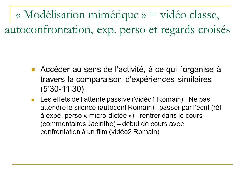 Accéder au sens de lactivité, à ce qui lorganise à travers la comparaison dexpériences similaires (530-1130) Les effets de lattente passive (Vidéo1 Ro