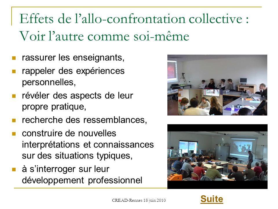 Effets de lallo-confrontation collective : Voir lautre comme soi-même rassurer les enseignants, rappeler des expériences personnelles, révéler des asp