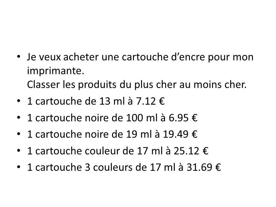 Je veux acheter une cartouche dencre pour mon imprimante. Classer les produits du plus cher au moins cher. 1 cartouche de 13 ml à 7.12 1 cartouche noi