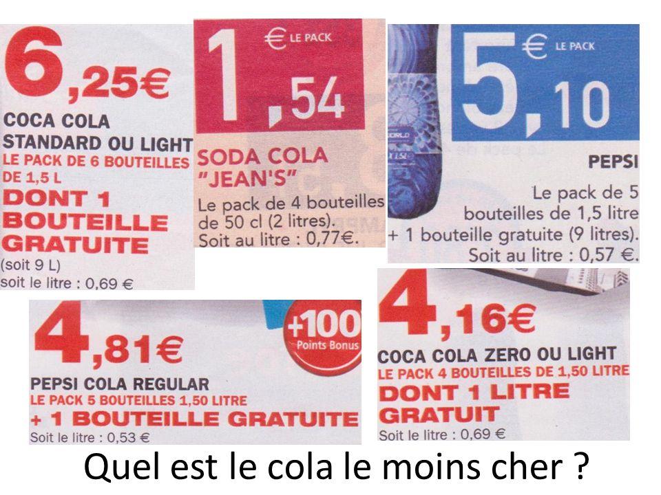 Quel est le cola le moins cher ?