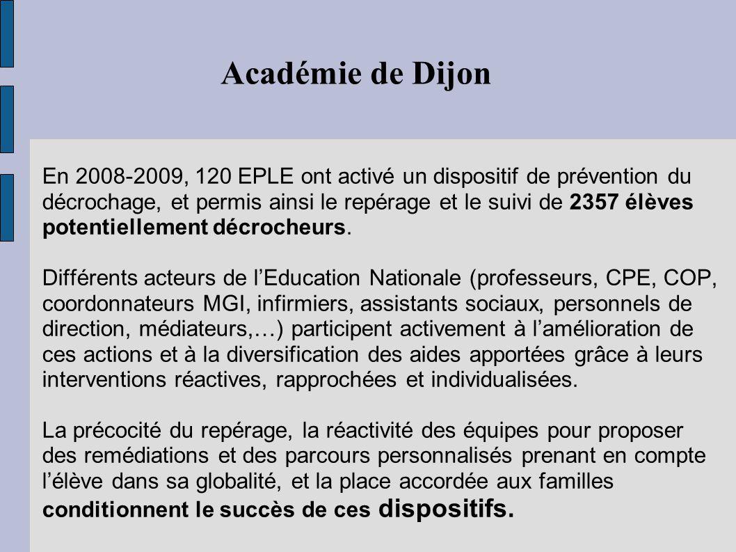 En 2008-2009, 120 EPLE ont activé un dispositif de prévention du décrochage, et permis ainsi le repérage et le suivi de 2357 élèves potentiellement dé