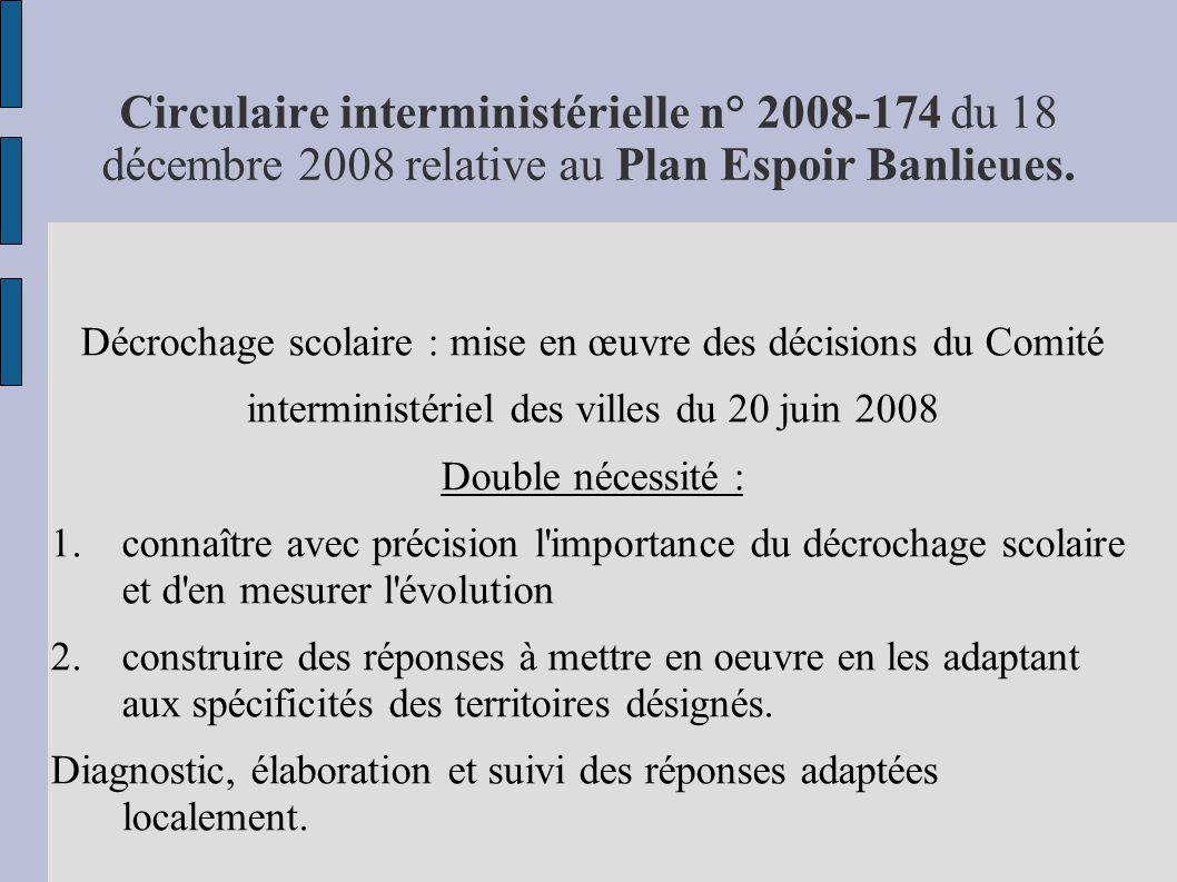 Circulaire interministérielle n° 2008-174 du 18 décembre 2008 relative au Plan Espoir Banlieues. Décrochage scolaire : mise en œuvre des décisions du