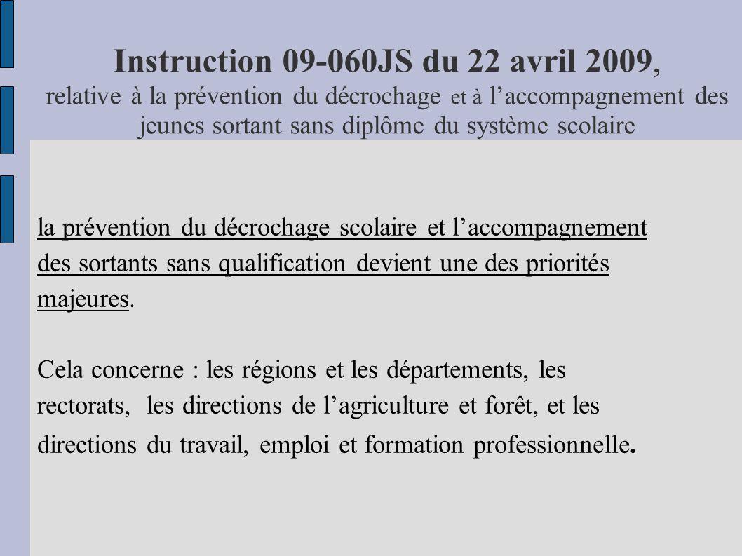 Instruction 09-060JS du 22 avril 2009, relative à la prévention du décrochage et à laccompagnement des jeunes sortant sans diplôme du système scolaire
