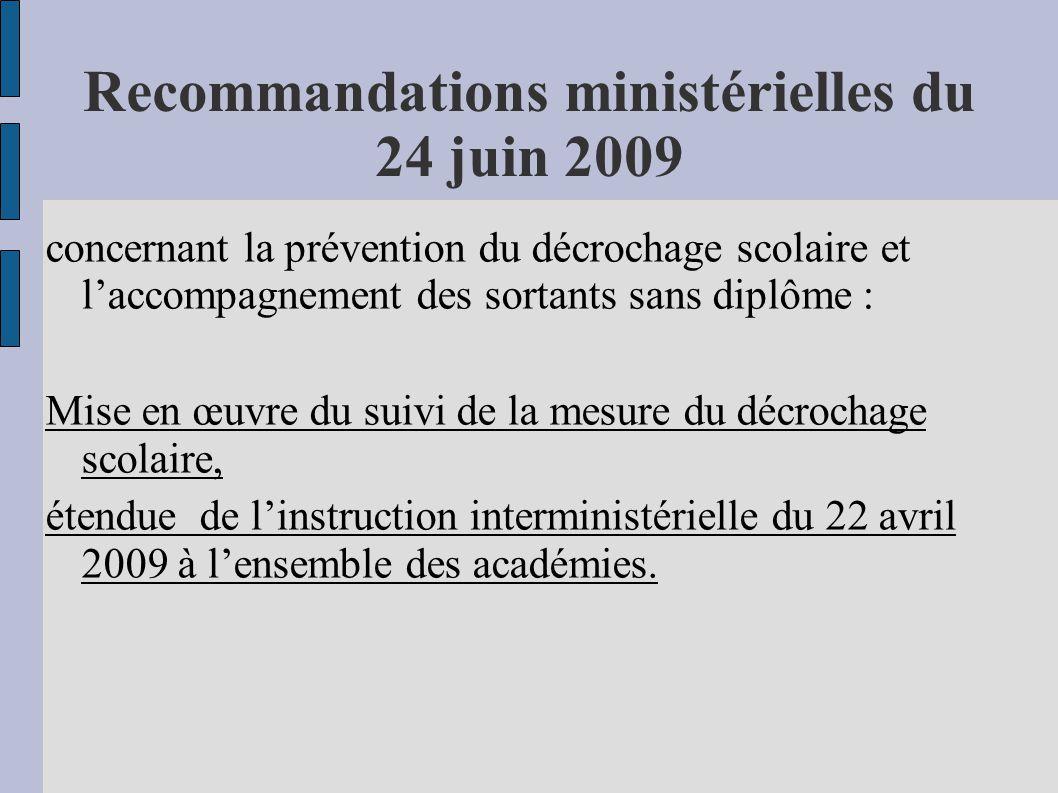 Recommandations ministérielles du 24 juin 2009 concernant la prévention du décrochage scolaire et laccompagnement des sortants sans diplôme : Mise en