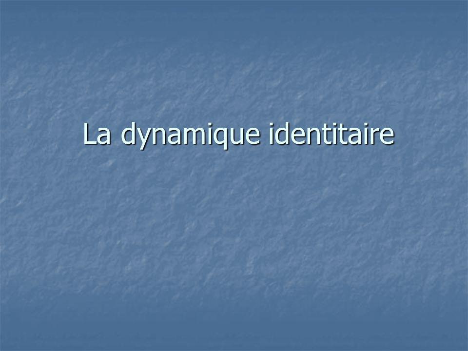 La dynamique identitaire La dynamique identitaire