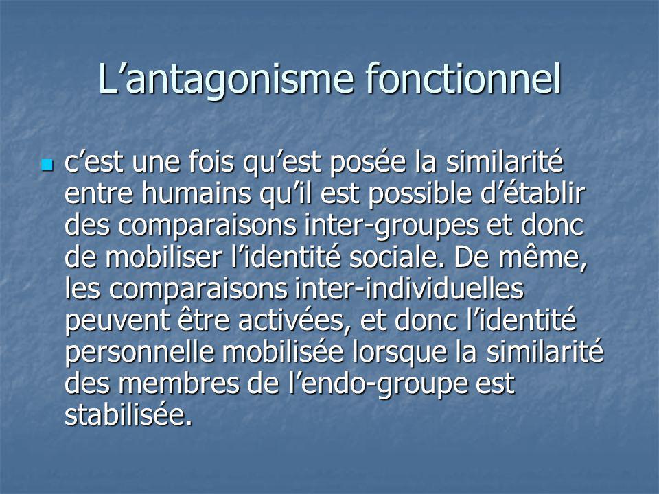Lantagonisme fonctionnel cest une fois quest posée la similarité entre humains quil est possible détablir des comparaisons inter-groupes et donc de mo