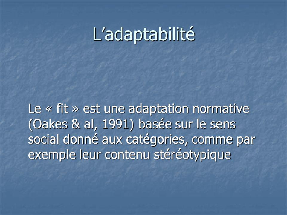 Ladaptabilité Le « fit » est une adaptation normative (Oakes & al, 1991) basée sur le sens social donné aux catégories, comme par exemple leur contenu