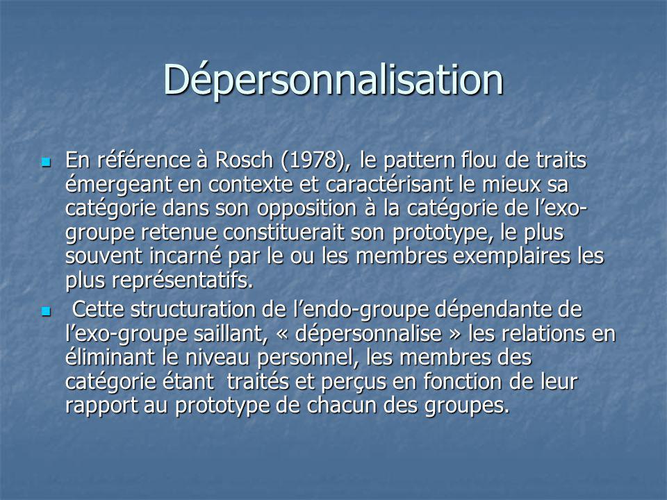 Dépersonnalisation En référence à Rosch (1978), le pattern flou de traits émergeant en contexte et caractérisant le mieux sa catégorie dans son opposi