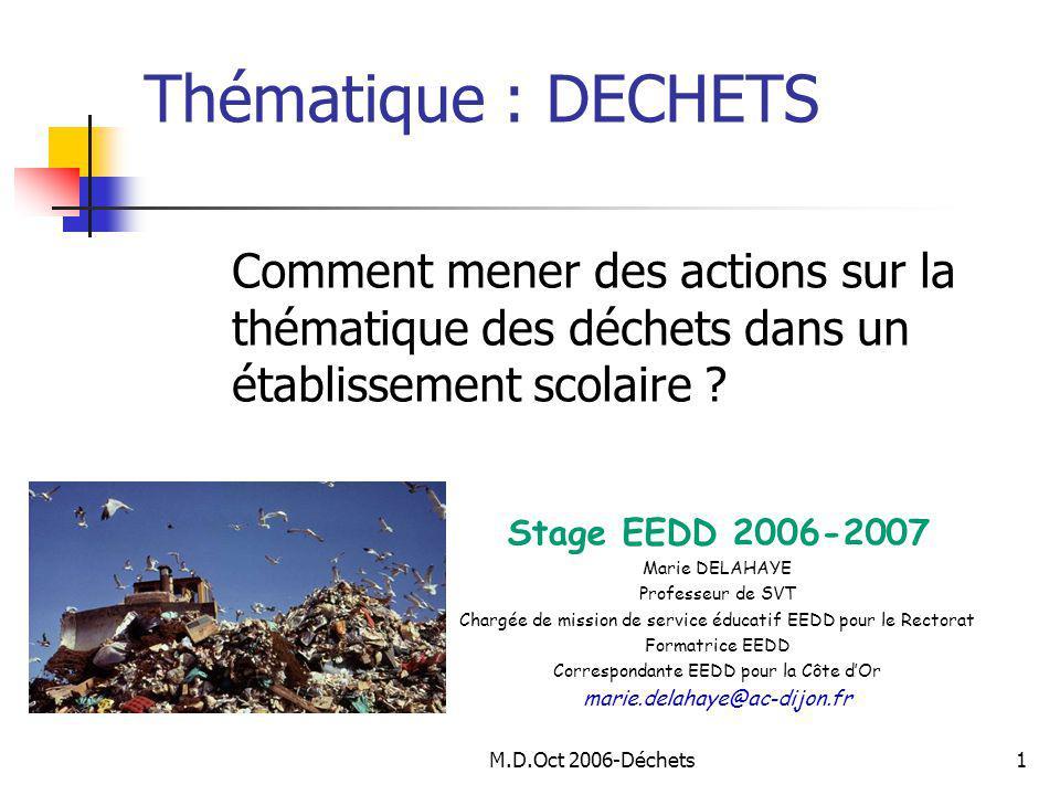 M.D.Oct 2006-Déchets1 Comment mener des actions sur la thématique des déchets dans un établissement scolaire .