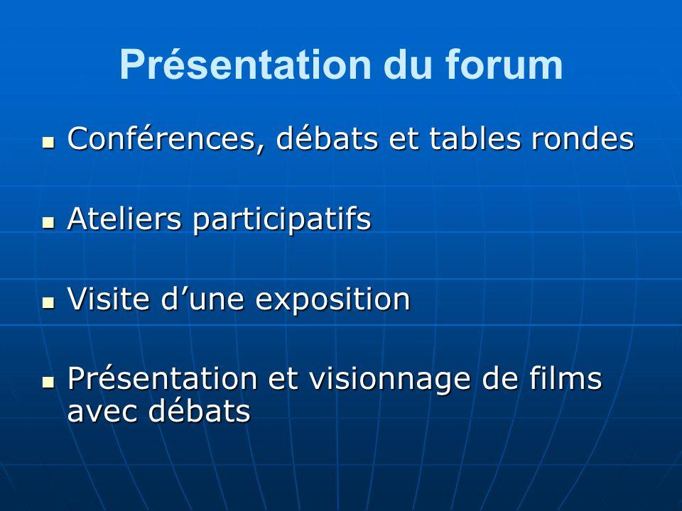 Présentation du forum Conférences, débats et tables rondes Conférences, débats et tables rondes Ateliers participatifs Ateliers participatifs Visite dune exposition Visite dune exposition Présentation et visionnage de films avec débats Présentation et visionnage de films avec débats