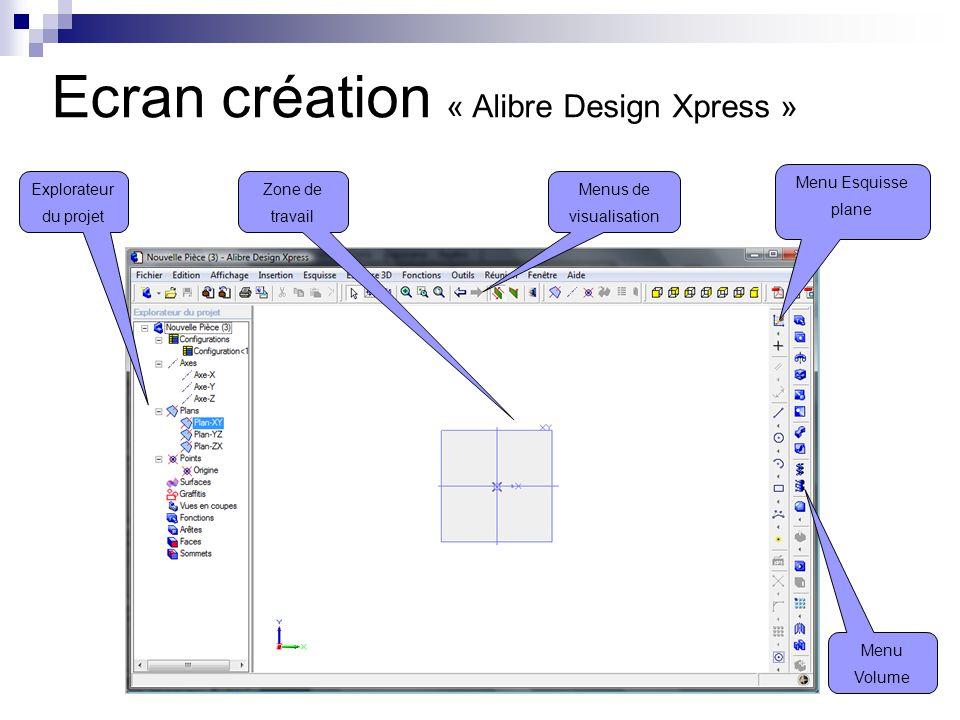 Explorateur du projet Menu Esquisse plane Menu Volume Zone de travail Menus de visualisation Ecran création « Alibre Design Xpress »